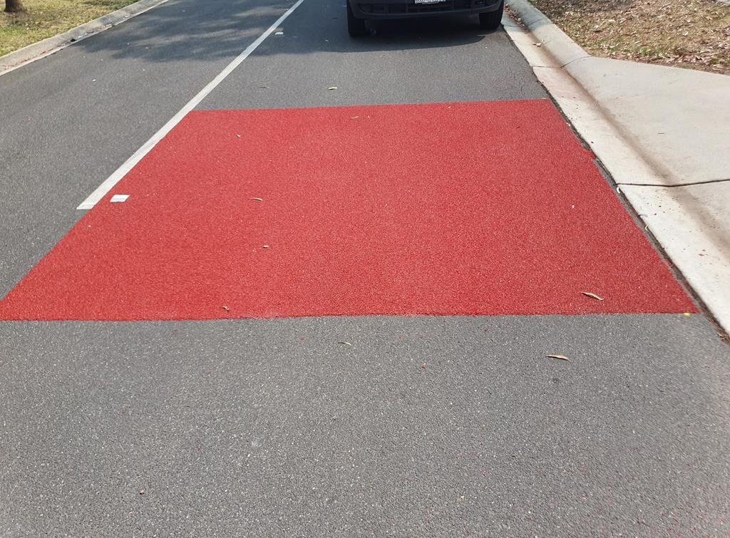 Red OmniGrip CST speed pad on Cavell Street, Scoresby