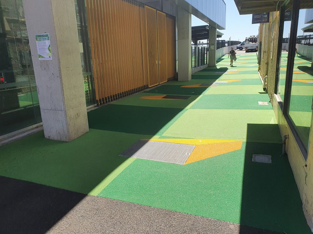 New multi-coloured surface for a laneway placemaking project beside Bentleigh Railway Station