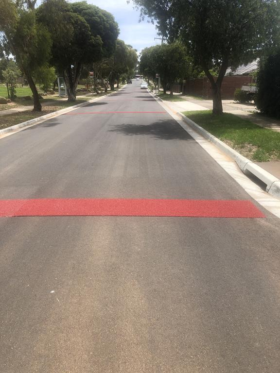 Red rumble strips along Rosehill Street, Scoresby, using OmniGrip CST