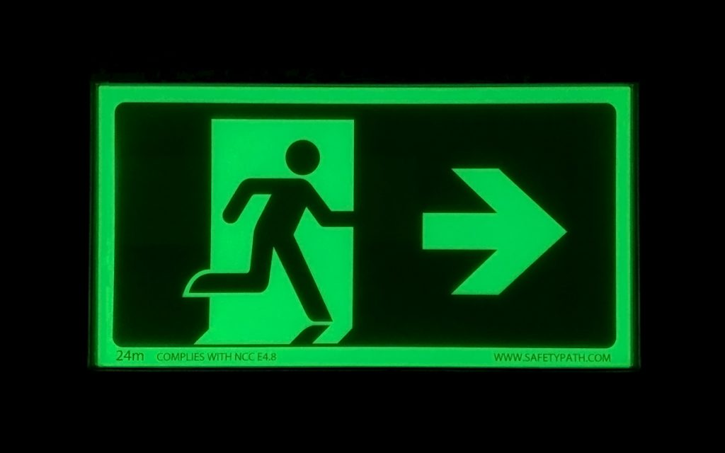 Safety Path Photoluminescent Exit Sign