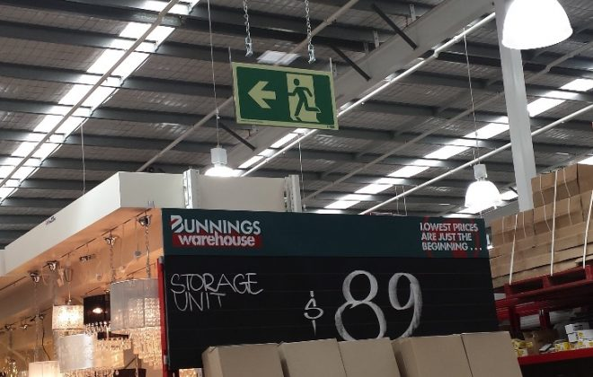 Photoluminescent Exit Sign in Bunnings Lighting Department