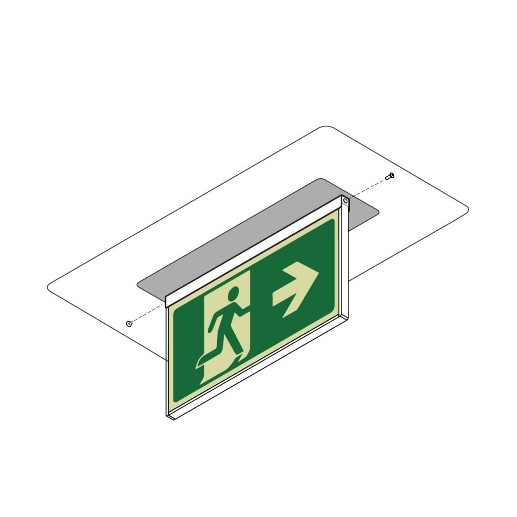 Safety Path Photoluminescent Exit Light - Ceiling Mounted