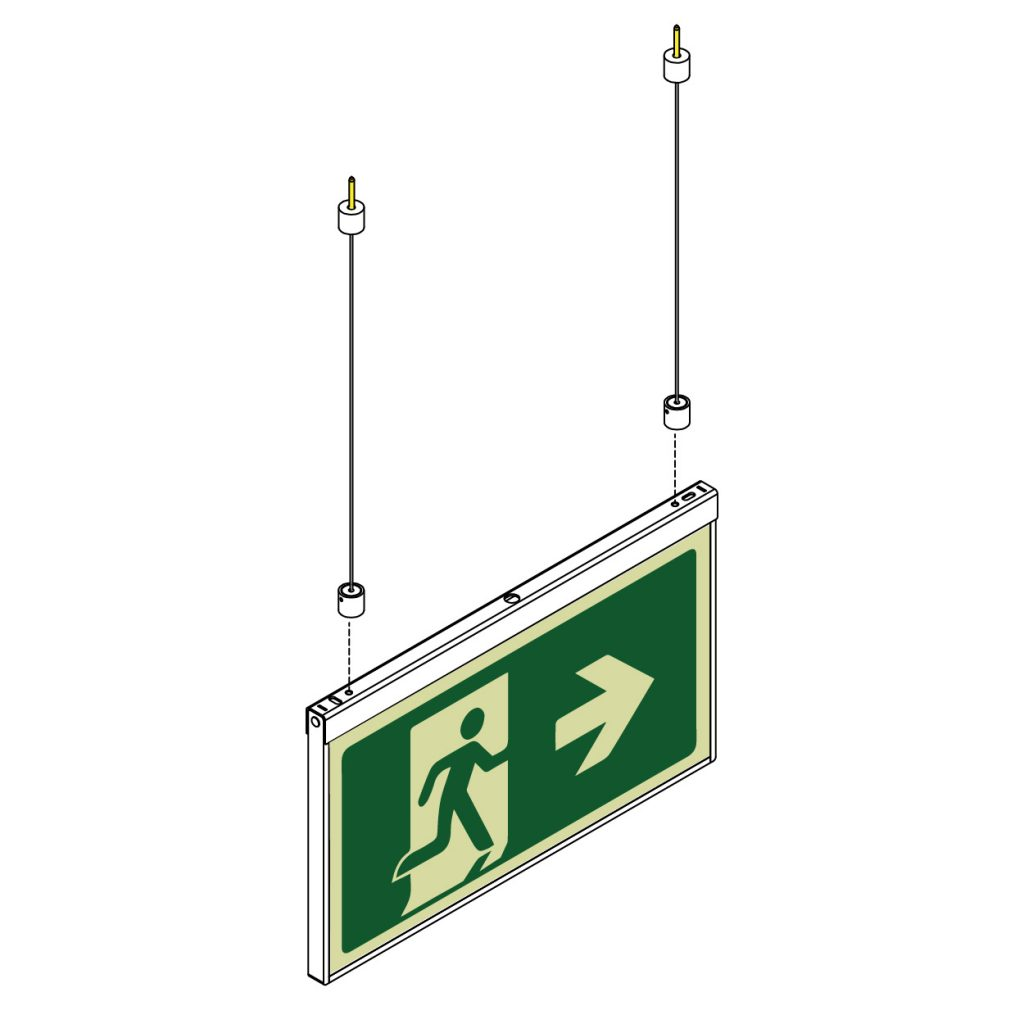 Safety Path Photoluminescent Exit Sign - Suspended from Ceiling
