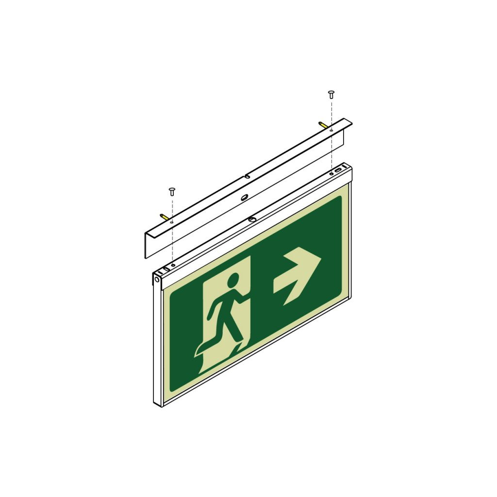 Safety Path Photoluminescent Exit Sign - Wall Face Mounted