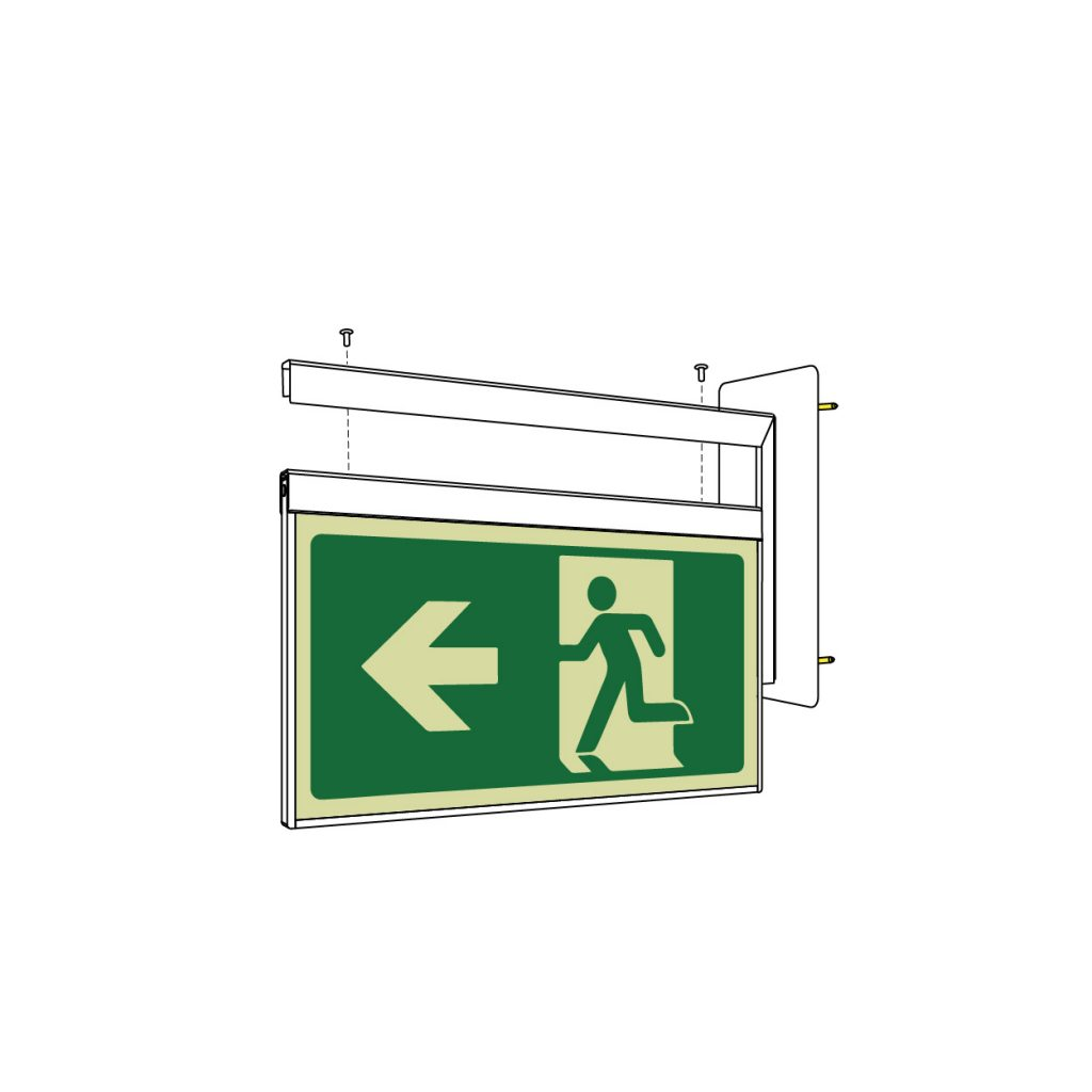 Safety Path Photoluminescent Exit Sign - Wall side mounted