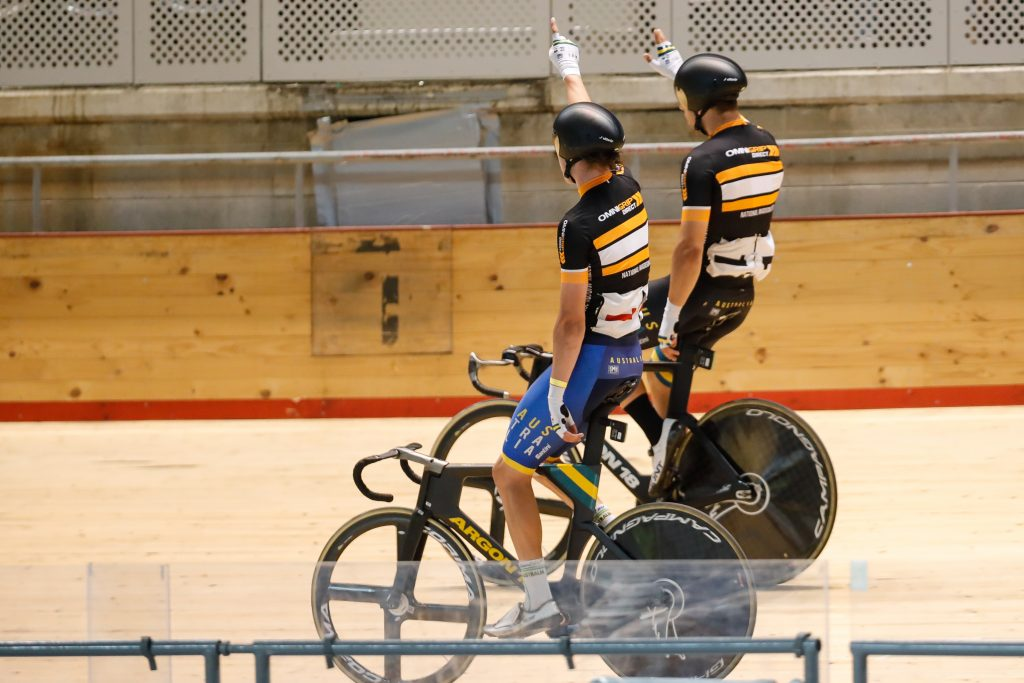 Samuel Welsford and Kelland O'Brien after winning the Men's Madison at the 2020 National Championships
