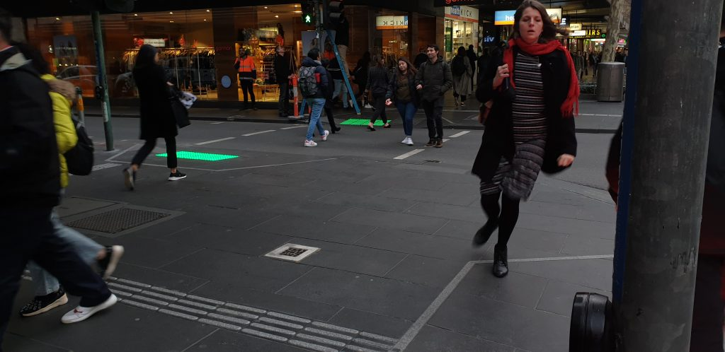 Vivacity LED Tactile Safety Block in Melbourne in crowd of pedestrians