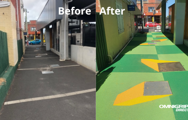 Before and After photo of OmniGrip CST transformation of laneway next to Bentleigh Railway Station