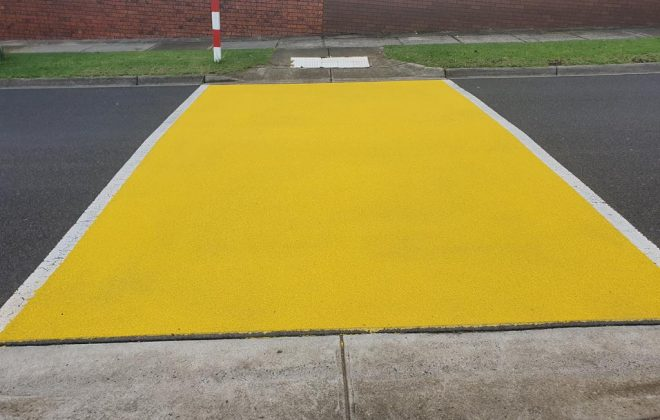 Yellow OmniGrip CST school crossing on Heyington Avenue, Doncaster for Manningham City Council