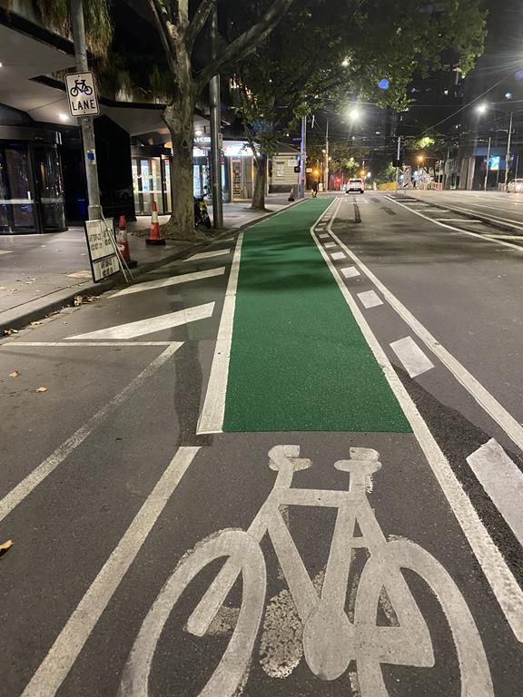 William Street separated bicycle lane using green OmniGrip CST, in Melbourne City Council