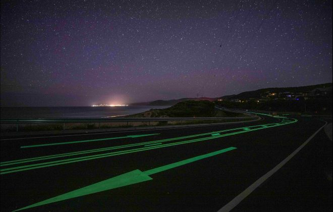 Improve night-time road safety with Safety Path photoluminescent linemarking and pavement marking