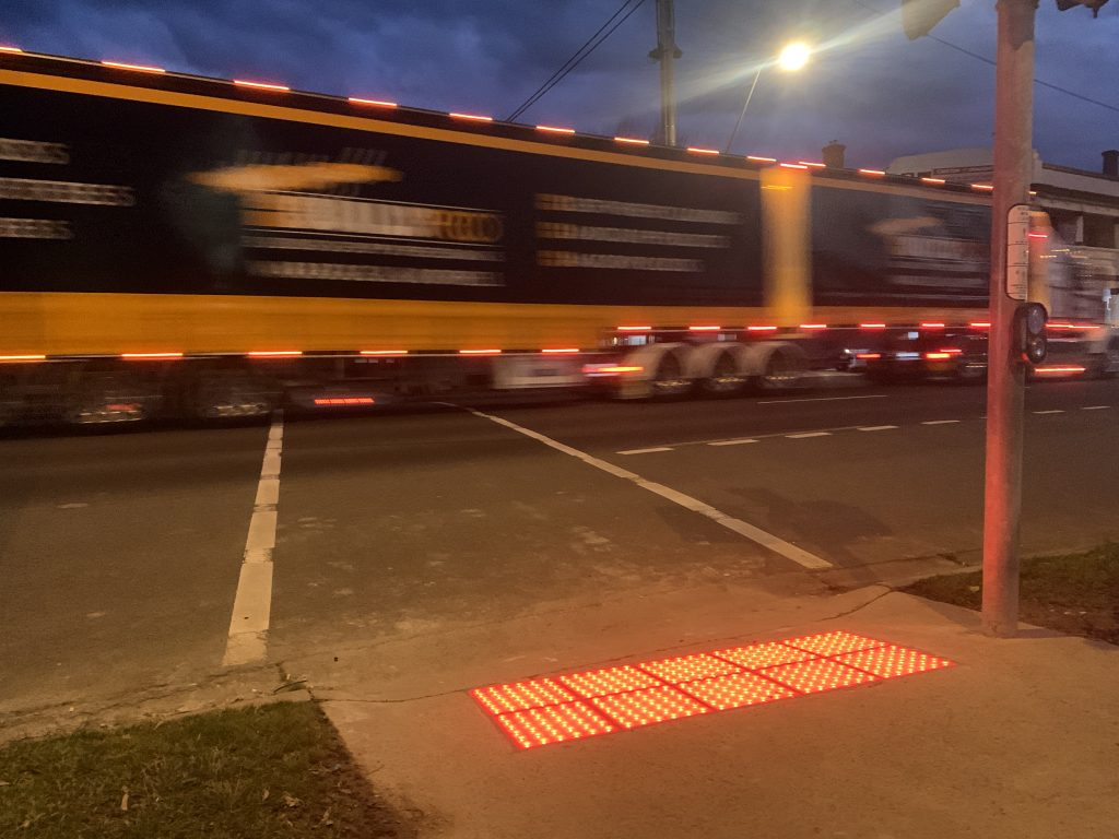 Major safety upgrade to highway traffic lights on the Princes Highway in Traralgon, with installation of Vivacity LED Safety Tactiles by OmniGrip Direct